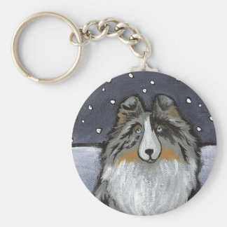 """In The Snow Again"" Blue Merle Sheltie Keychain"