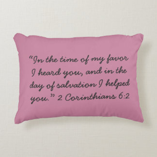 """""""In the time of my favor"""" Scripture Accent Pillow"""