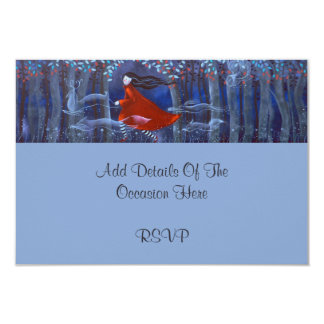 """In The Woods With Animal Spirits. 3.5"""" X 5"""" Invitation Card"""