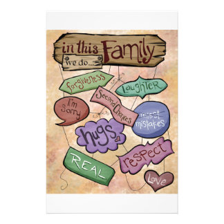 In This Family...Inspirational Quote Art Personalized Stationery