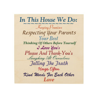In This House We Do Family Rules Wooden Art Wood Canvas