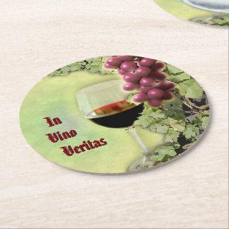In Vino Veritas Round Paper Coaster