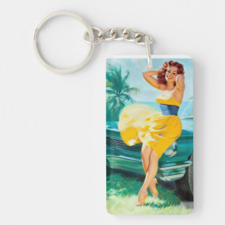 In Yellow Dress Pin Up Keychain