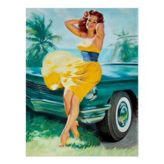 In Yellow Dress Pin Up Poster