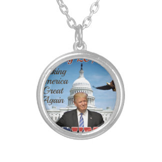 inauguration day silver plated necklace