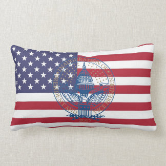 Inauguration Donald Trump Logo American Flag USA Lumbar Pillow