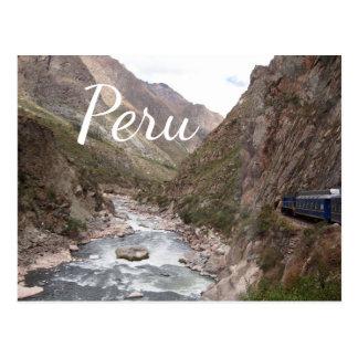 Inca rail train to Machu Picchu in Peru postcard