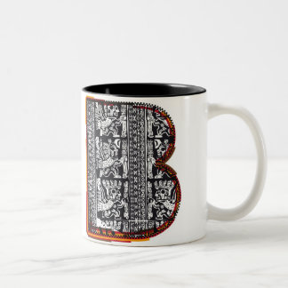 Inca`s font, Letter B Two-Tone Coffee Mug