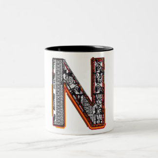 Inca`s font, Letter N Two-Tone Coffee Mug