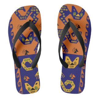 Inca Tribal Cats Skateboard Flip Flops