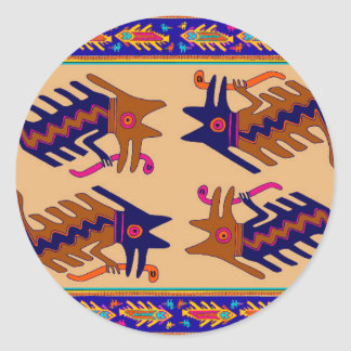 Inca Tribal Serpent Classic Round Sticker