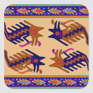 Inca Tribal Serpent Square Sticker