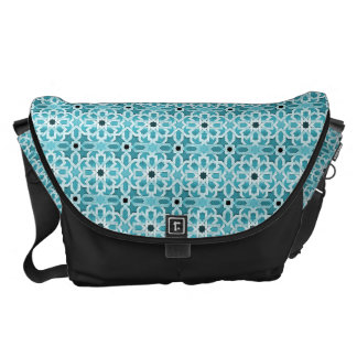Incandescent Blue Moroccan Pattern Messenger Bag