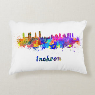 Incheon skyline in watercolor decorative pillow