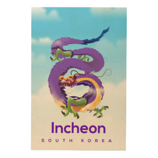 Incheon South Korea Dragon Wood Print