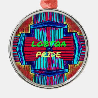 Inclusive 'LGBTQA PRIDE 'Rainbow Spectrum Silver-Colored Round Ornament