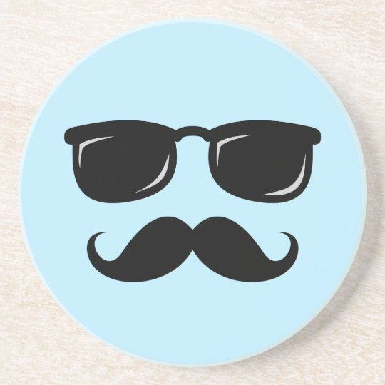 Incognito blue coaster with moustache