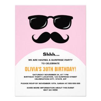 Incognito pink and orange surprise party invite