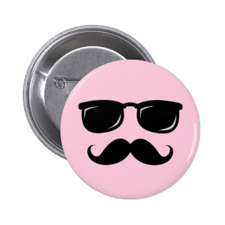 Incognito pink button with mustache and sunglasses