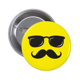 Incognito smiley button with mustache and glasses