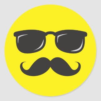Incognito smily face with mustache and sunglasses round sticker