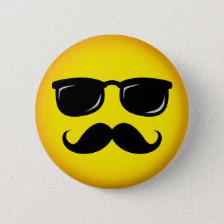 Incognito yellow mustache smiley pinback button