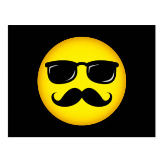 Incognito yellow mustache smiley postcard