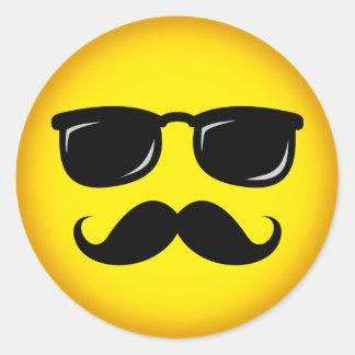 Incognito yellow mustache smiley sticker