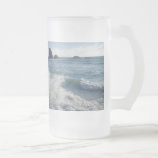 Incoming tide frosted glass beer mug