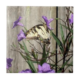 Incredible Eastern Tiger Swallowtail in Petunias Tile