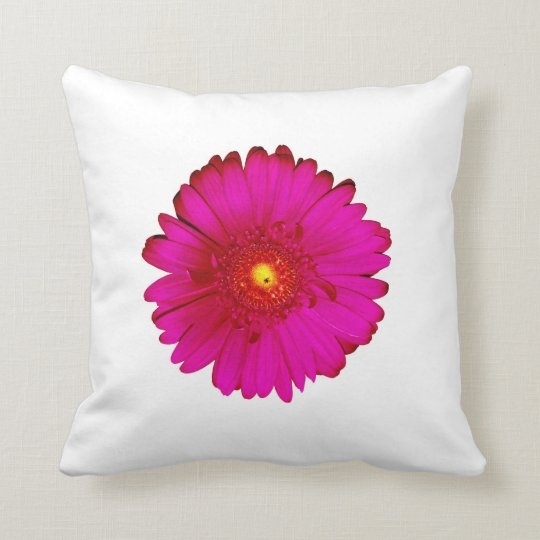 Incredible Hot Pink Gerbera Daisy on White Throw Pillow