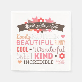 Incredible Mom Happy Mother's Day | Napkin Paper Napkins
