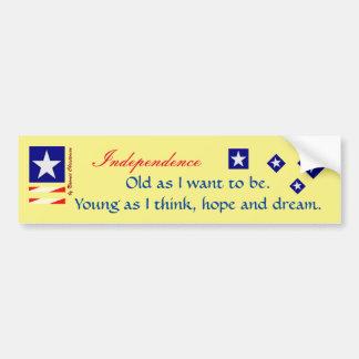 Independence bumper sticker