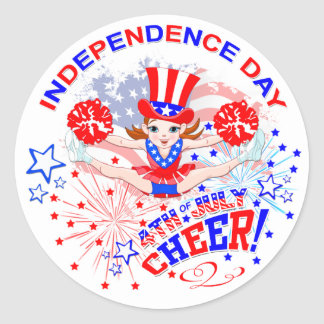 Independence Day, 4th July, Cheer Classic Round Sticker