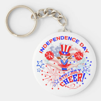 Independence Day, 4th July, Cheer  key ring Basic Round Button Keychain