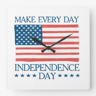 Independence Day 4th of July Retro Square Wall Clock