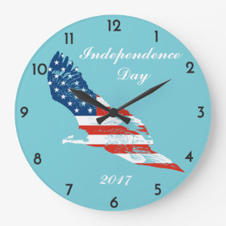 Independence Day - American Flag in Eagle Large Clock