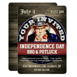 Independence Day BBQ Potluck Card