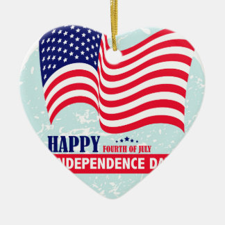 Independence-Day Ceramic Heart Ornament