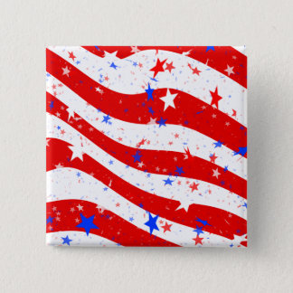 Independence Day Curved Stars and Stripes 2 Inch Square Button