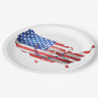 Independence Day July 4 American Flag USA Country 9 Inch Paper Plate