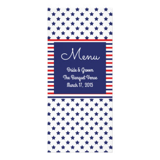 Independence Day Patriotic Wedding Menu Cards Rack Card Design
