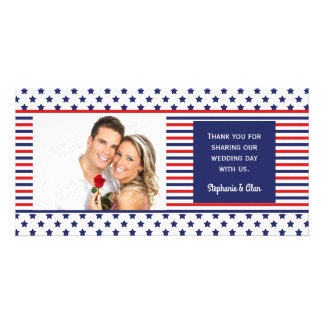 Independence Day Patriotic Wedding Thank You Customized Photo Card