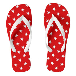 Independence Day Red with White Stars Flip Flops
