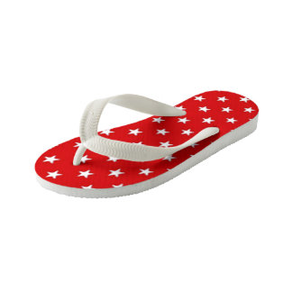 Independence Day Red with White Stars Kid's Flip Flops