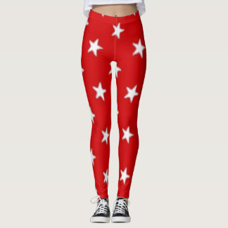 Independence Day Red with White Stars Leggings
