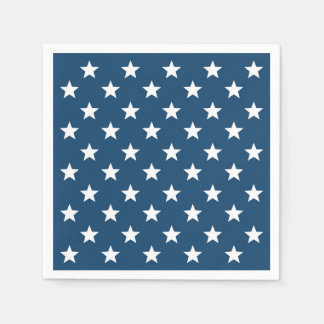 Independence Day Stars in White on Navy Blue Disposable Napkins