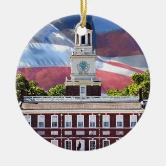 Independence Hall Ceramic Ornament