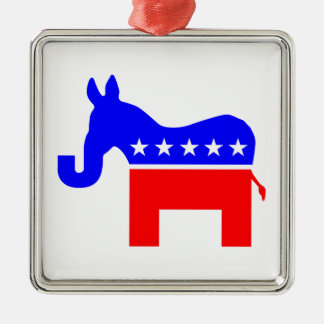 INDEPENDENT & BIPARTISAN - Donkey/Elephant Hybrid Silver-Colored Square Ornament