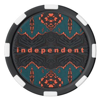Independent in Orange and Green Poker Chips